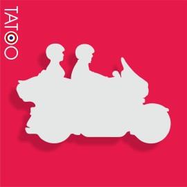 support polystyrène bonbons moto et 2 motards
