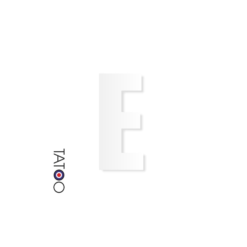 lettre polystyrène E caractère square volume