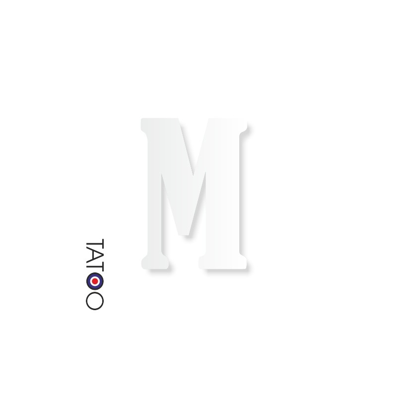 lettre polystyrène M caractère bernard texte volume
