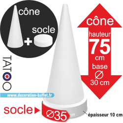 cône polystyrène macarons hauteur 75 cm base 35 cm