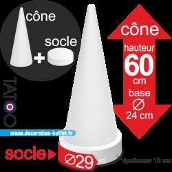 cône polystyrène macarons hauteur 60 cm base 29 cm