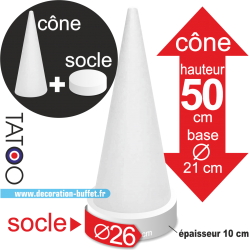 cône polystyrène macarons hauteur 50 cm base 26 cm
