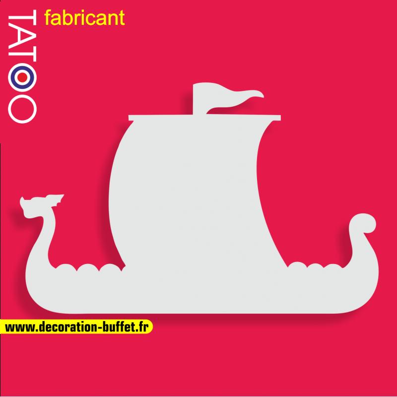 support polystyrène bonbons drakkar bateau viking