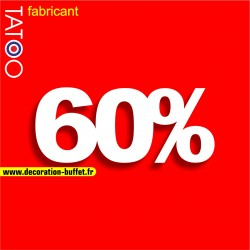 Chiffre 60% en polystyrène pour l'affichage dans les vitrines des magasins