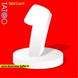 Chiffre 1 en polystyrène sur socle pour anniversaire