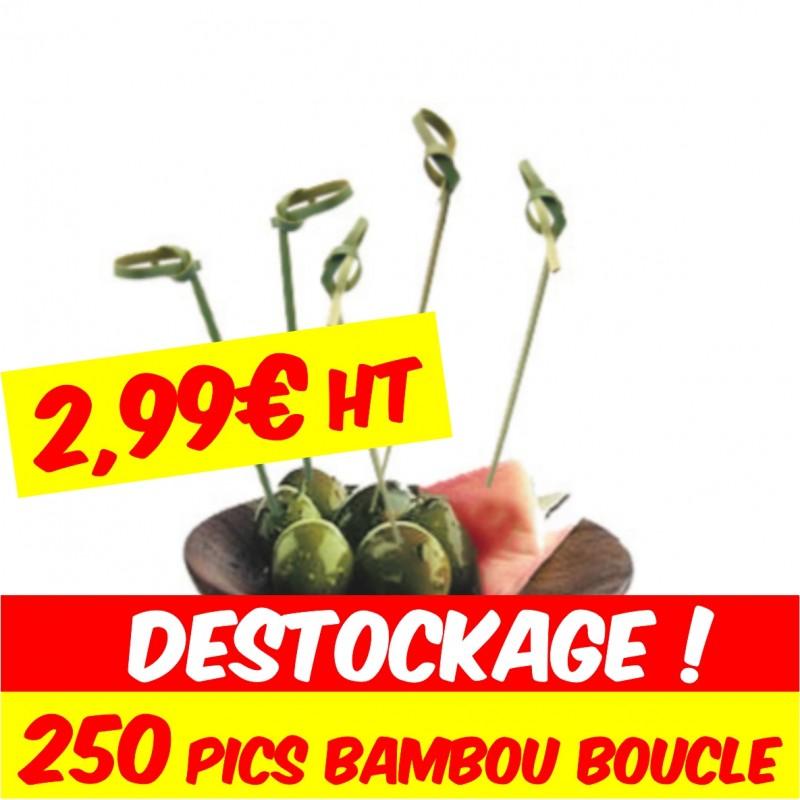 pic bambou boucle pour brochettes de cocktail lunch apéritif