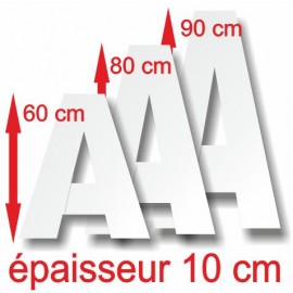 - Lettres majuscules polystyrène hauteur 60, 80, 90 cm épaisseur 10 cm