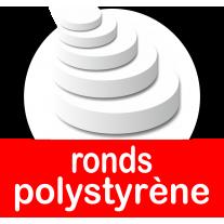 Bases et socles ronds ou cercles pour présentoirs en polystyrène