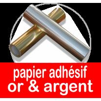 Bobine et rouleau de papier adhesif or et argent pour présentoirs polystyrene
